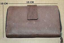 Girls Women Ladies Purse Brown Genuine Leather Wallet Purse with Pockets