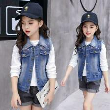 New Girls Kids Sleeveless Embroidery Denim Vest Jacket Casual Wash Jean Top Coat