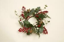 New Primitive Christmas PINE RUSTY STAR RED BERRY CANDLE RING Wreath