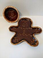 "Hull Pottery Brown Drip Glaze Gingerbread Man Bowl Rare 5"" and matching Plate"