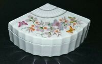 VINTAGE 1980 AVON BUTTERFLY FAN SHAPE FANTASY PORCELAIN TRINKET BOX