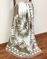 IBENA Cozy Jacquard Woven Cotton Blend Throw Blanket Quilting Star Natural
