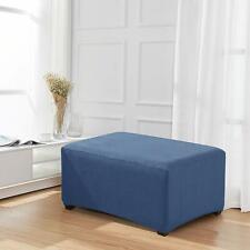 Enova Home Denim Blue Jacquard Polyester Stretch Fabric Ottoman Slipcover