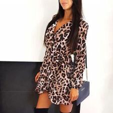 Women Leopard Print Mini Dress Lady Long Sleeve V Neck Clubwear Party Wrap Dress