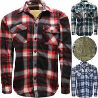 Mens Sherpa Fur Fleece Lined Fleece Thick Shirt Lumberjack Jacket Check Warm