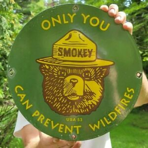 DATED '53 VINTAGE SMOKEY THE BEAR PORCELAIN ENAMEL GAS STATION SIGN PREVENT FIRE