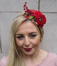 Black Red Rose Berry Flower Fascinator Hair Headband Races Hat Rockabilly 4993