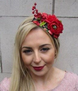 Black Red Rose Berry Flower Fascinator Hair Headband Races Hat Rockabilly 4993