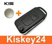 2Tasten Klapp Schlüssel Gehäuse mit Rohling für Mercedes Benz SLK R170+ Batterie