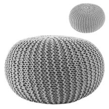 Pouf Knitted Pouffe Seat Cushion Stool Sit Pillow Foot Footrest Storage Grey Ø