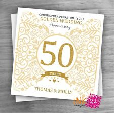 Personalised Unique Handmade Milestone 50th Golden Wedding Anniversary card