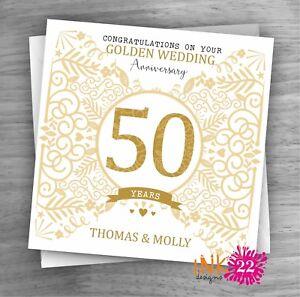 Personalised Unique Handmade Milestone 50th Golden Wedding Anniversary card