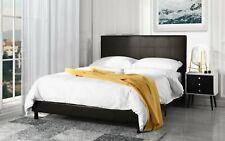 Modern Bedroom Faux Leather Dark Brown Platform Bed Frame (Queen)