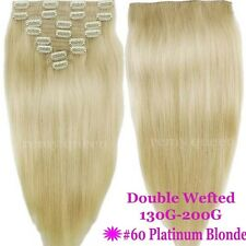 120G-200G THICK Double Wefted Clip In Remy Human Hair Extensions Full Head V469