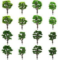 16pcs Mixed Size HO Scale Model Train Green Trees Railroad Courtyard Scenery