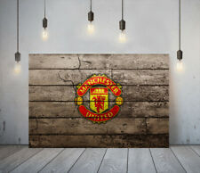 MANCHESTER FC 1-DEEP FRAMED CANVAS SPORT WALL ART PICTURE PAPER PRINT-RED YELLOW