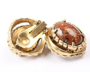 Gold Tone and Brown Stone Clip on Earrings, Vintage 1950s