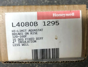 """HONEYWELL L4080B 1295 Hi Limit Aquastat 120-160F 15 Deg Fixed Diff 4"""" Ins ~ NOS"""