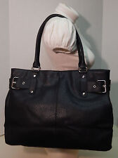 Lancome Black Pebbled PVC Side Belt Buckle Shoulder Bag Handbag Tote Purse