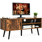 42'' Large TV Stand Industrial Home Entertainment Unit Shelves W/ Side Cabinet
