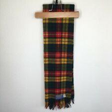 Pendleton Whisperwool Muffler Wool Scarf Plaid Print Yellow Orange Black Red