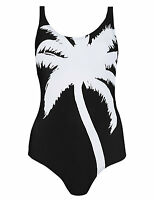 M & S COLLECTION SECRET SLIMMING PLACEMENT PALM PRINT BLACK & WHITE SWIMSUIT