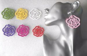 Lightweight Wooden Flower Earrings - Pierced or Clip-on - Handmade - 8 Colours