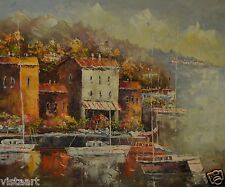 """Oil Painting On Stretched Canvas 20""""x 24""""- Seaside Town View"""