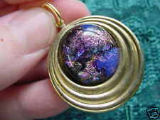 Purple Pink Black brass (#Db-304) Dichroic Glass Pendant Jewelry