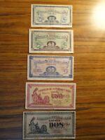Lote de billetes del Consejo de Asturias y León BC
