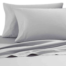 Heartland HomeGrown 400-Thread-Count Solid Sateen Full Sheet Set Solid Silver