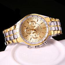 Men's Luxury Gold Dial Edelstahl Analog Quartz Armbanduhr Uhren Armbanduhren