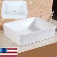 "White Porcelain Sink Bowl Vessel Basin Rectangle Bathroom Above Counter 19""x5"""