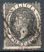 More details for st lucia used 1864 sg11y 1d black wmk inverted and reversed