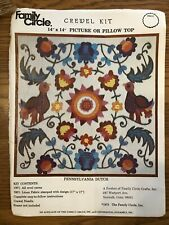 Vintage Family Circle Crewel Kit Pennsylvania Dutch 1973 Partially Stitched