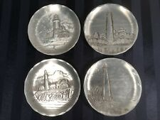 Set of Four Wendell August Lighthouse Plates with Wooden Display Rack