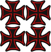 4PCS IRON CROSS BLACK & RED PATCH - Embroidered Maltese Gothic BADGE IRON-ON