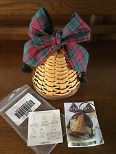Longaberger 2000 Century Christmas Noel Bell w/ Evergreen Plaid Tassel Tie