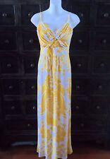 Women's Bisou Bisou Nordstrom Yellow & White Floral Hawaiian Long Maxi Dress 12