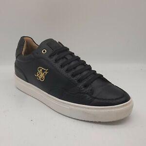 Men's SILKSILK Size 10 UK 44 EU Black & White Trainers/Shoes Lace Up In E U C