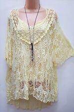 New Lagenlook Lemon Yellow 2 pc Mesh Top & vest Tunic 16 18 20 22 24