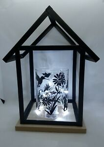 LARGE BLACK FRAMED LANTERN WITH BATTERY LIGHTS, INDOOR, OUTDOOR, DECALS, WHITE