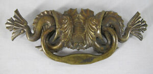 Antique Set 5 Brass Salvage Drawer Pull Cabinet Handle Sea Creature LARGE yqz