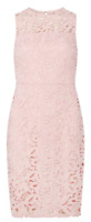 Dorothy Perkins Pink Crochet Lace Pencil Dress Womens Sleeveless Size 12 *REF91