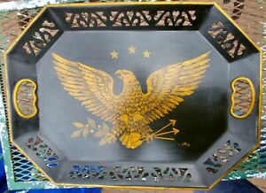 Vintage Folk Art Toleware Metal Pierced Tray Hand Painted Patriotic Eagle