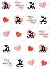 20 Nail Decals VALENTINE LOVE CATS and HEARTS Water Slide Nail Art Decals CUTE