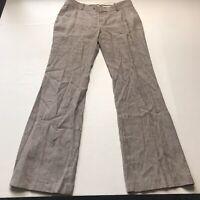 Banana Republic Brown Stripe Linen Blend Martin Fit Dress Pants Size 8 A807