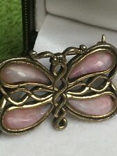 Vintage Pink Scottish Agate Gold Tone Butterfly Brooch/Pin