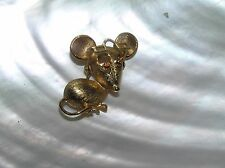 Vintage Avon Signed Small Goldtone Mouse w Red Rhinestone Eyes & Movable Glasses