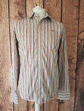 Mens Tommy Hilfiger Shirt Medium Slim Blue Red Stripe 42 Chest